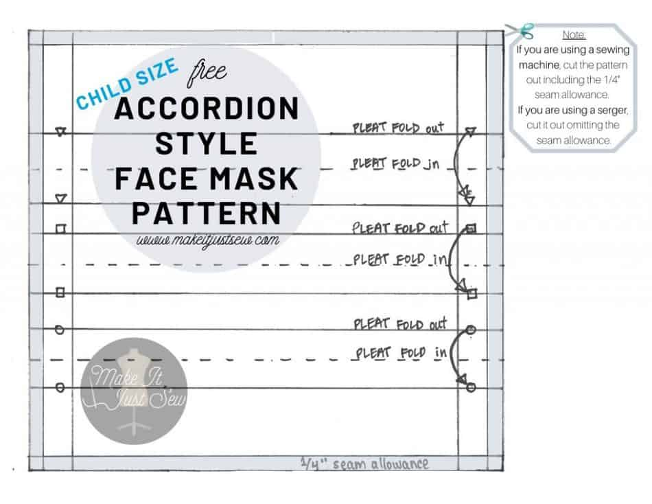Free Accordion Style Face Mask Pattern, chid sized